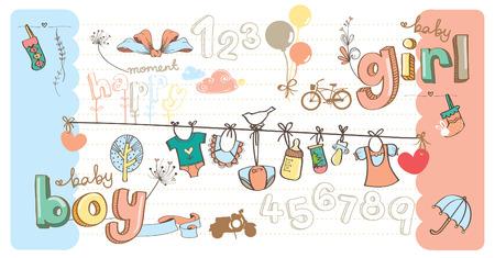 stuff toys: Cute Baby Girl And Boy Stuff Cartoon Drawing Illustration