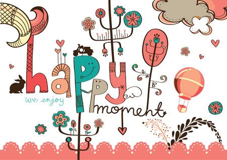 dessin fleur: dessin de fleurs color� avec libell� mignon moment heureux