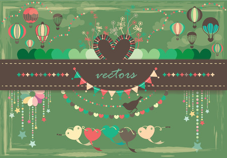 hot love: Air balloon With Love shape pattern and background design