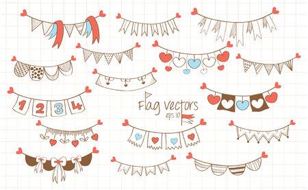 cute cartoon flag banner decoration Vector