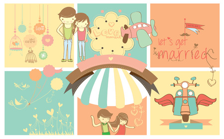 cartoon wedding: Cute Cartoon Lovely Couple With Colorful Background