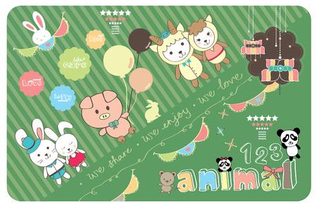 schattige dieren cartoon: Leuk Paar Animal Cartoon Liefde met kleurrijke achtergrond