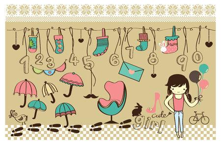 Cute Colorful Drawing of Stocking, umbrella, cute girl Vector