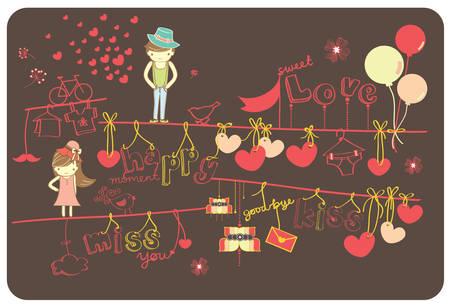balloon girl: Cute Cartoon Lovely Couple With Love Shape Background