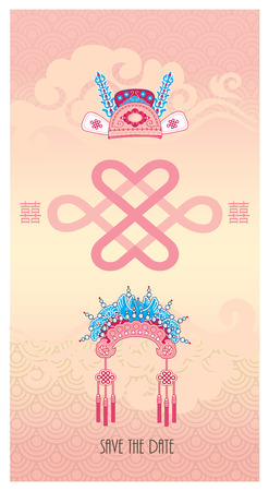 nudos: Boda chino tradicional traje Ilustraciones