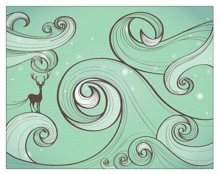 asia deer: Curly Abstract Water Wave background, vector illustration Illustration