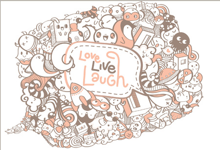to laugh: Cute Doodle Drawing With text Love, Live, Laugh for Background