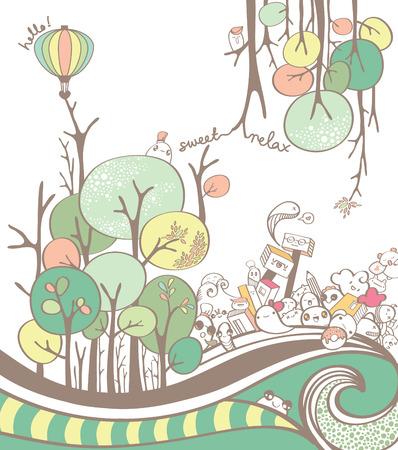 feuille arbre: Arbre coloré dessin animé et branche d'arbre Dessin avec griffonnages Mignon