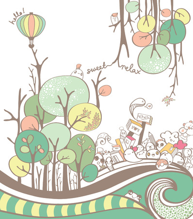 tree branch: Colorful Cartoon Tree and Tree Branch Drawing with Cute doodles
