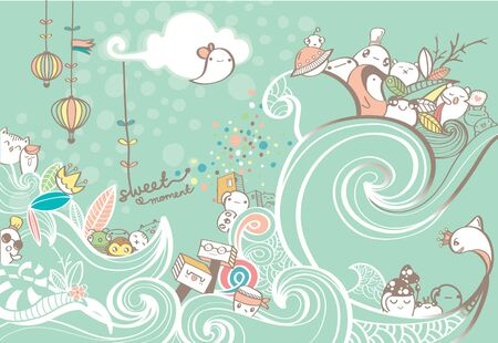 Drawing of Waves Line And Cute doodles