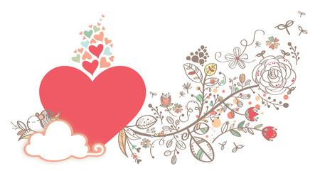 romance sky: Love Heart Shape With Hand draw Flower Surrounding