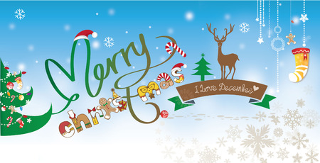 outerwear: Merry Christmas Background Design With Snow Flake and Snow Tree Decoration Illustration