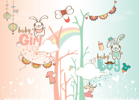 1ST Birthday celebration background design for baby boy and baby girl. Vectores