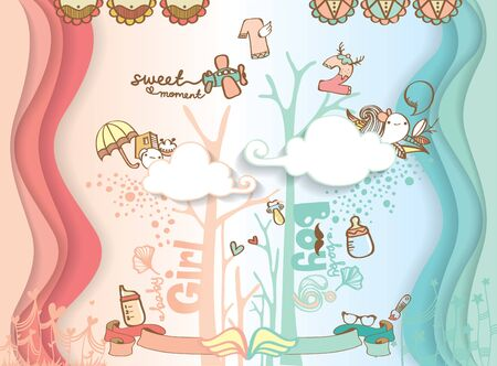 Cute colorful hand drawing background design for baby girl and baby boy