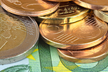 subsidy: Euro and cents Stock Photo