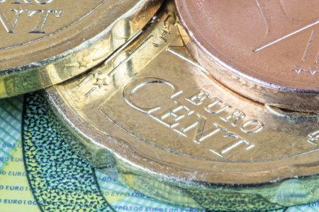 banking problems: Euro and cents Stock Photo