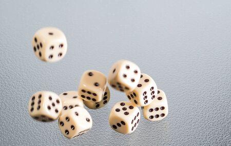 Several dice fall through the air Stok Fotoğraf