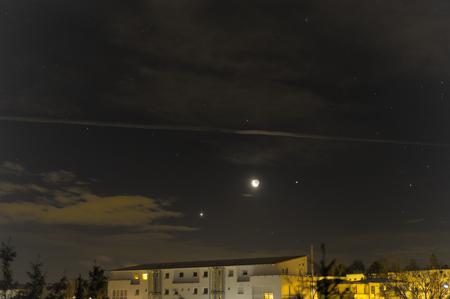 Moon, Venus, Jupiter, Antares sky