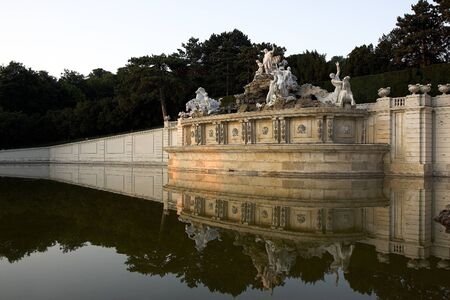 neptun: Neptun fountain inside schoenbrunn gardens Stock Photo