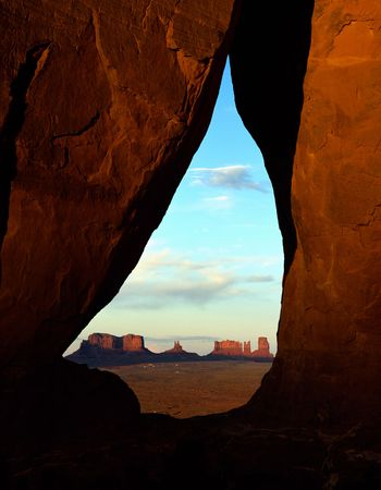 monument valley view: View through an arch on the monument valley