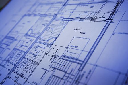 building plans: blue print Stock Photo