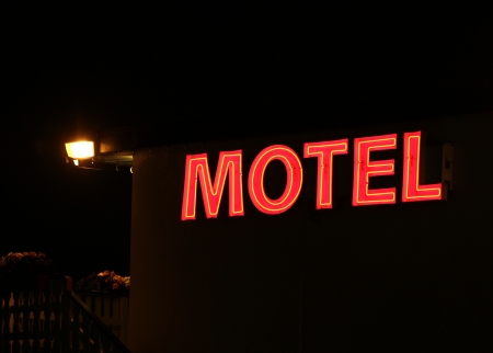 red motel sign at night  Stock Photo