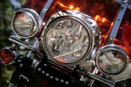 detail of a the headlights of a motorcycle Stock Photo
