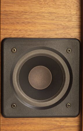 loudspeaker: detail of a wooden loudspeaker Stock Photo