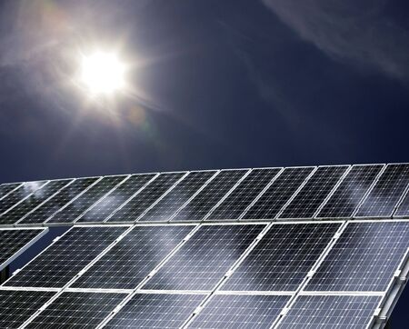detail of a solar power plant with sun shining on it Stock Photo - 5970960