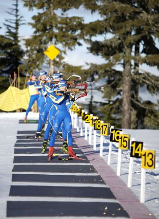 swedish Biathlon team training for the 2010 winter olympics in vancouver