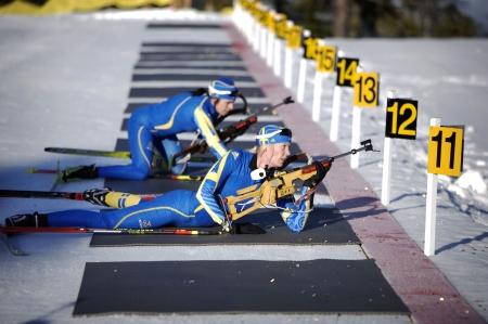olympics: swedish Biathlon team training for the 2010 winter olympics in vancouver Editorial