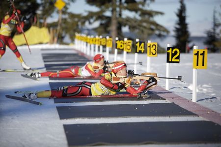 chinese biathlon team training for 2010 winter olympics inVancouver