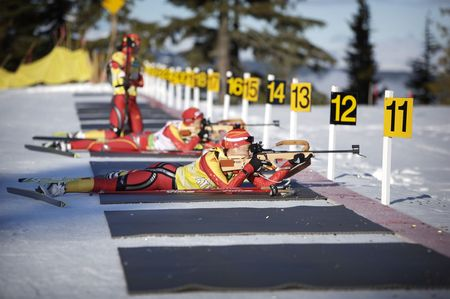 olympic game: chinese biathlon team training for 2010 winter olympics inVancouver Editorial