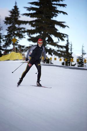Kati Wilhelm training for the 2010 winter olympics in Vancouver