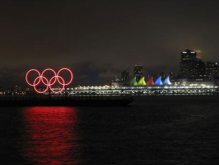 olympic rings: olympic rings at night with canada plce in background