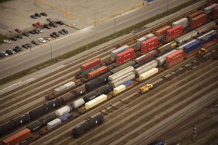 railway transportation: container train aerial view in downtown vancouver Stock Photo