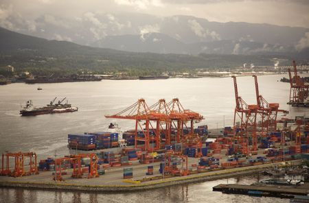 view of the container port in downtown vancouver photo