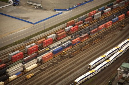 goods train: container train aerial view in downtown vancouver Stock Photo