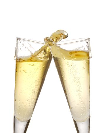 two champagne glasses isolated on white with splashes