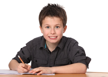 eager: cute young boy learning with white background
