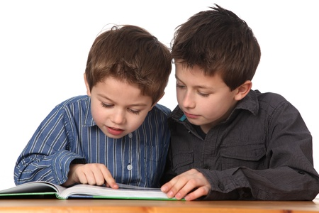 two cute young boys learning together