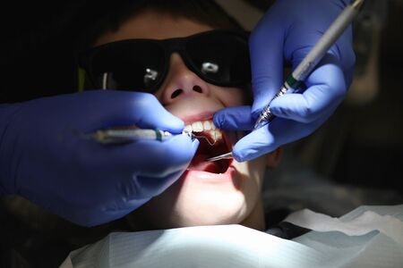 young boy getting a examination at the dentist Stock Photo - 8897029