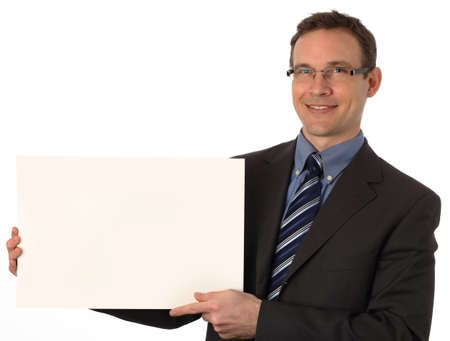 businessman holding a blank sign photo