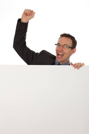 businessman holding a blank sign Stock Photo - 8984623