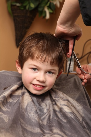 cute young boy getting a haircut Stock Photo - 9055002