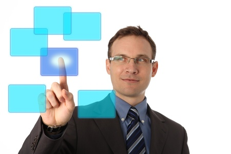 businessman pressing a virtual button Stock Photo - 9054991