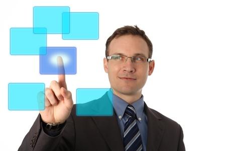businessman pressing a virtual button Stock Photo - 9054991