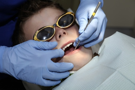 young boy at the dentist