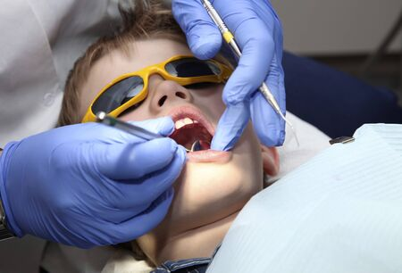 young boy at the dentist photo