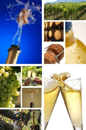 collage of champagne pictures photo